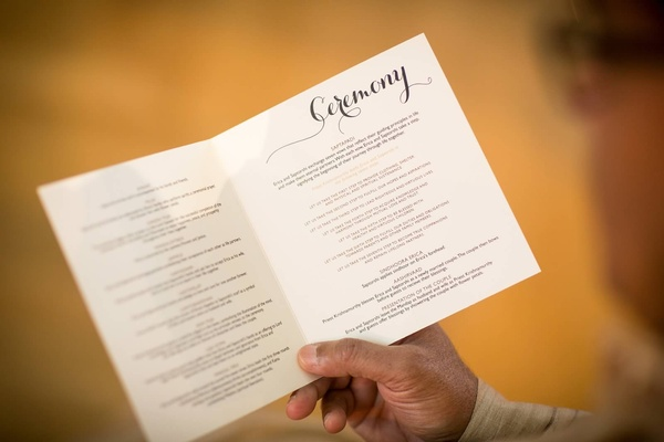 A Guest Reads Ceremony Program Wedding