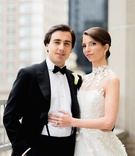 Bride in Angel Sanchez gown and groom in tuxedo