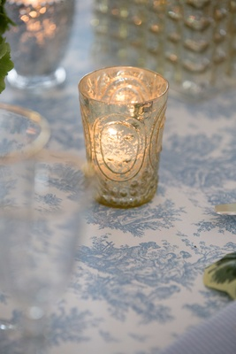 candle glass holder, blue and white wedding décor, southern charm wedding