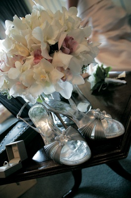 René Caovilla metallic bridal pumps