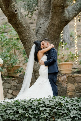 calamigos ranch wedding, bride in nicole spose, groom in midnight blue tuxedo