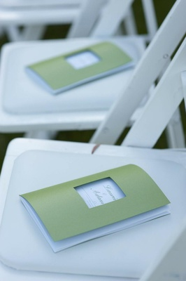 Light green wedding program with square cut out