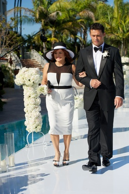 Summer black-and-white dress with sun hat for mother of groom