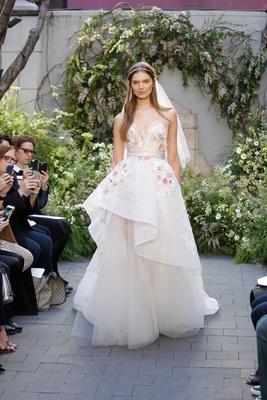 Monique Lhuillier Blossom illusion v neck wedding dress high low ball gown detail horsehair trim