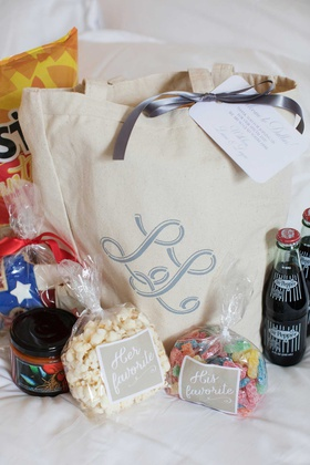 welcome tote bag with dr pepper, her favorite and his favorite snacks monogram bag