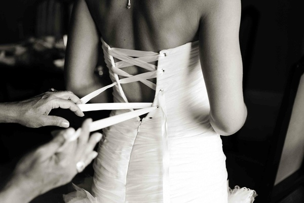 Black and white photo of corset back dress