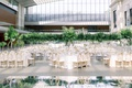 wedding reception cleveland museum of art green tropical leaves jungle mirror dance floor