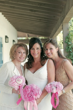 Mary Dann with mother-of-the-bride attire and bridesmaid