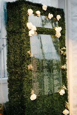 wedding reception boxwood hedge greenery acrylic lucite seating chart white flowers welcome sign