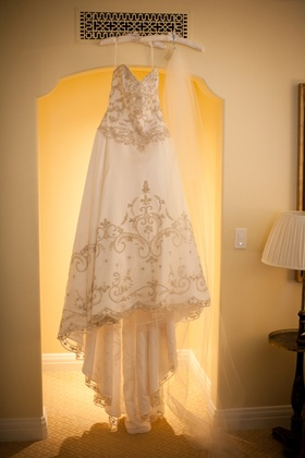 Bodice and skirt embroidery on white wedding dress