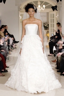 Oleg Cassini Fall 2018 bridal collection spring 2019 wedding dress strapless gown rose ruffle skirt