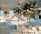 Candelabra centerpiece with pink flowers