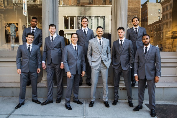 NBA basketball player with friends on wedding day