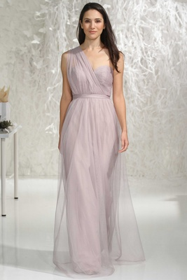 Wtoo Bridesmaids 2016 one shoulder light purple long bridesmaid dress