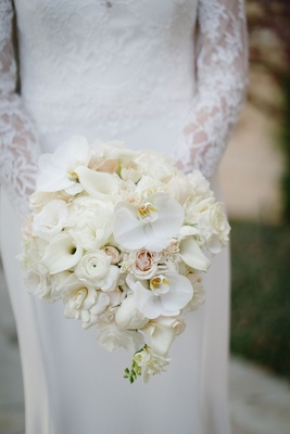 white phalaenopsis orchids, calla lilies, roses, ranunculus, gardenia, peony bouquet bridal wedding