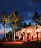 Marquee wedding venue in Bali next to ocean and palm trees