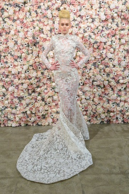 Michael Costello spring summer 2018 bridal couture collection high neck long sleeve sheer dress