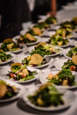 wedding salad with mixed greens, hearts of palm and parmesan frico