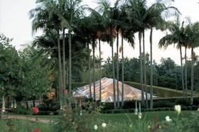 Tent wedding on tennis court of Bel Air estate