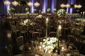 dark lighting at wedding reception, moody decor