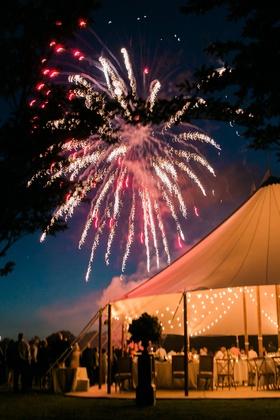 Wedding reception surprise firework show after dinner tent wedding
