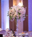 Wedding reception centerpiece candelabra candles pink rose white hydrangea greenery amaranthus