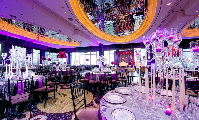 vibrant indian wedding with purple details in new york city inside weddings. Black Bedroom Furniture Sets. Home Design Ideas