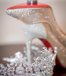 ashley alexiss wedding accessories crystal tiara and sparkle christian louboutin heels wedding rings