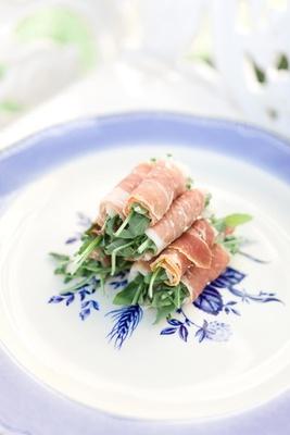 Snacks wrapped in prosciutto