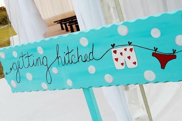 Polka dot wedding ceremony sign