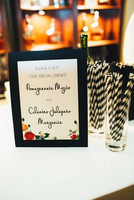 black-and-white striped straws, bar menu with flowers pomegranate mojito cilantro jalapeno margarita