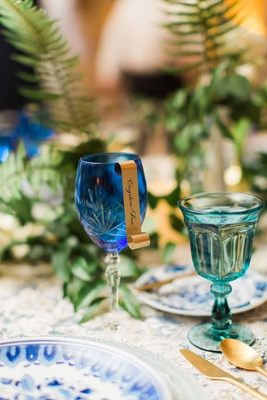 Wedding reception blue goblet with gold scroll seating card place card wedding reception gold