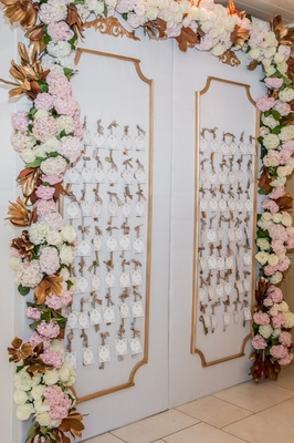 White panels with keys and place cards surrounded by pink and white hydrangeas, roses at wedding
