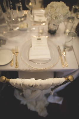 gold chiavari chairs with woven ivory chair cover