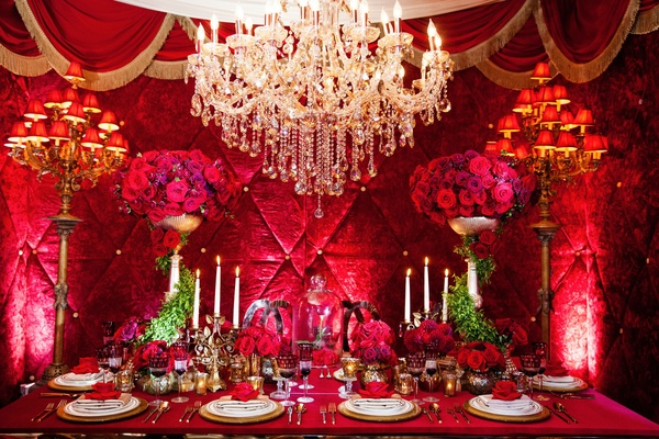Disney's Belle, Beauty and the Beast inspired opulent red and gold table setting