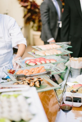 wedding reception catering ideas, sushi station, sashimi station, food stations at wedding