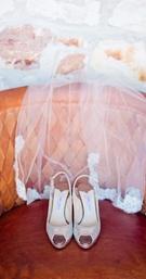 Jimmy Choo silver snakeskin peep-toe heels