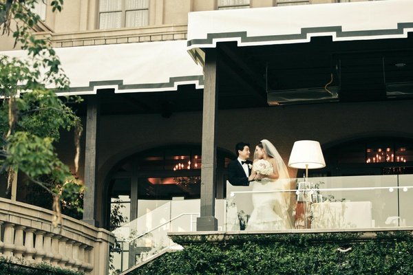 Bride and groom at Langham Huntington, Pasadena