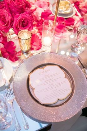 wedding reception place setting mirror table silver charger gold menu candle votive pink flower rose