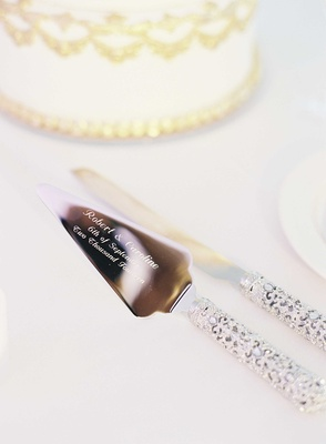 Wedding cake knife and cake server engraved with names and wedding date