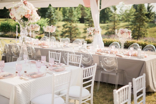 gray, ivory, taupe, mauve, blush tented wedding reception