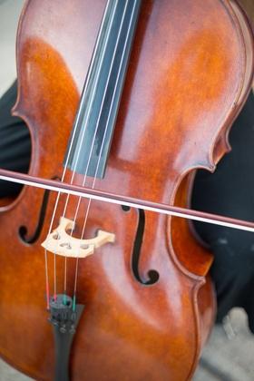 Pretty cello string instrument for string quartet at wedding