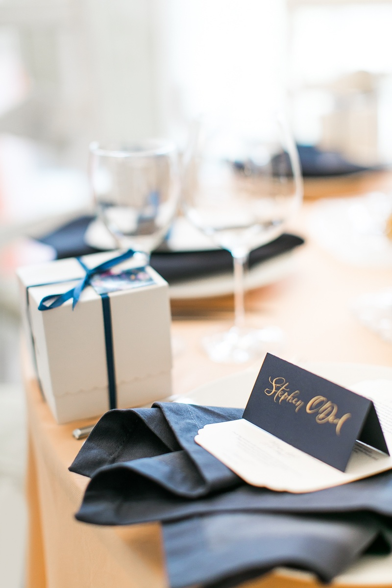 Favors & Gifts Photos - Navy Place Setting with Gift - Inside Weddings