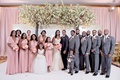 bride and groom with wedding party bridesmaids convertible pink dresses groomsmen grey suits