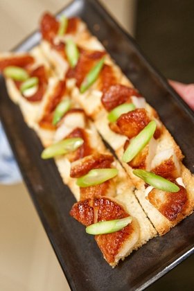 bread based Hors D'oeuvre on a tray at Chicago wedding