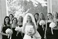 black and white bride and bridesmaids in black dresses