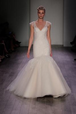 Jim Hjelm Spring 2016 Mermaid Wedding Dress With Cap Sleeves