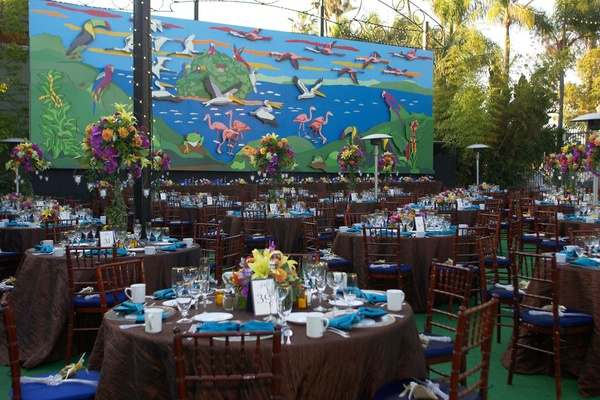 Chocolate brown tablecloths and animal mural
