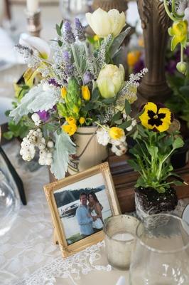 rustic chic garden table arrangement new york city bridal shower wedding votives runner