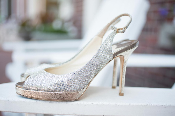 Jimmy Choo metallic slingback heels with peep toe